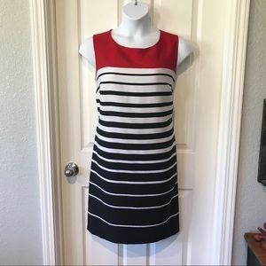 Voir Voir Career Red Black White Striped Dress 16W